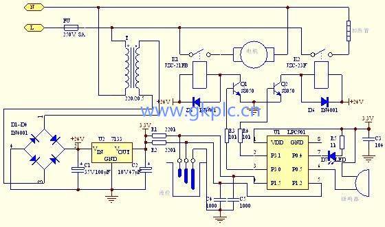 用单片机设计的豆浆机控制电路原理图
